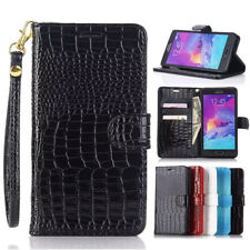 Glossy Crocodile Skin PU Leather Flip Wallet Stand Case Cover For Samsung Galaxy