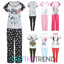 Womens Nightwear Pyjamas Ladies Minnie Mouse Dalmations Cotton PJs Top Pants Set