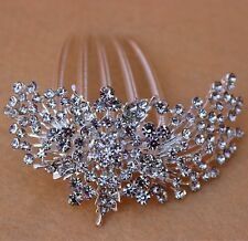 Crystal Rhinestone Flower Wedding Party Bridal Hair Comb Hairpin Clip Jewelr FS1