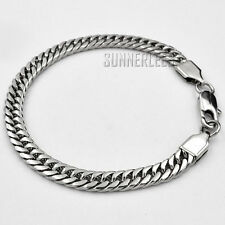 6mm Fashion Jewelry Smooth Double Curb Cuban Link Chain Stainless Bracelet SC19B