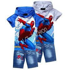 Toddler Girls Boys Spiderman Outfits Hooded Top + Jeans Pants Kids Clothes 3T-8