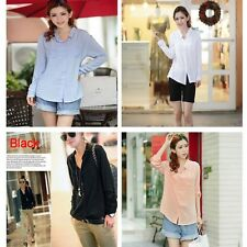 Lady Women Casual Button Down Shirt Long Sleeve Collarless Cotton Blouse Tops