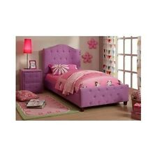 Girls Princess Purple Tufted Upholstery Button Twin Bed + Nightstand Childs Room