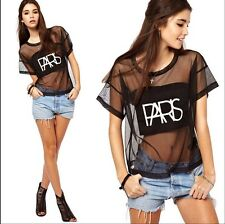 Women Sexy Lace Gauze Night Club See-through Short Sleeve T-shirt Blouse Tops ab