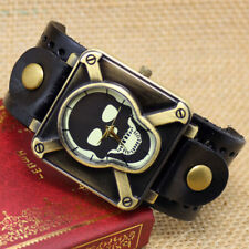 Vintage Square Skull Skeleton PU Leather Bracelet Quartz Wrist Watch Men's Gift