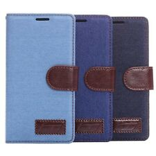 Jeans Denim Cloth + PU Leather Wallet Stand TPU Case Cover For Various Phones