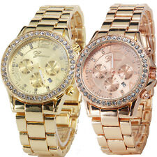 Women Geneva Date Quartz Stainless Steel Wrist Watch Female Luxury Crystal Watch