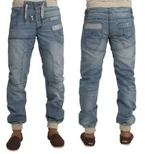 MENS JEANS ETO EM443 LIGHTWASH CUFFED JOGGER STYLE JEANS SALE PRICE