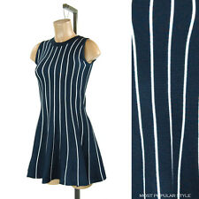 New Navy White Vertical Striped Knit Stretchy Casual 11820 Flared Skirt Dress