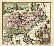 1720 Colonial Wall Map of America Louisiana & Mississippi Largest Sizes