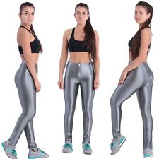 Womens Ladies American Disco High Waisted PVC Shiny Wet Look Pants Leggings