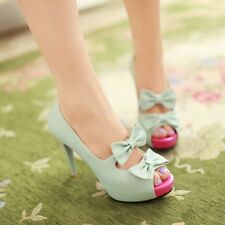 Sweet Girls Womens Peep Toe Bowknot Stilletto Heel Hollowing Pumps Sandal Shoes