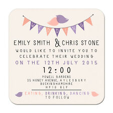 Bunting Personalised Wedding Invites Custom Printed Beer Mats Save the Date