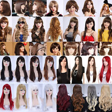 UPS Ship Lady Full Bangs Wig Straight Wavy Hair Real Heat Resistant Top Wigs 4C