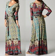 Wrap Maxi Dress 'Stella' Full Length Multi-Color Long Skirt 3/4 Sleeve Tie Waist