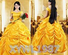 Adult Princess Belle and The Beast Halloween Costume Beauty Fancy Gorgeous Dress