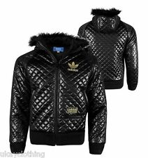 Adidas Original Chile 62 Quilted bomber Jacket With A Fur Hood  RRP £149.95