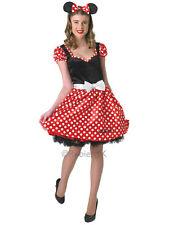 Ladies Cute Sassy Minnie Mouse Fancy Dress Costume Red White Polkadot Adult