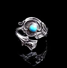 Silver Spoon Ring With Turquoise, German Spoon, Turquoise Ring Floral Spoon Ring