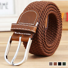 Mens Woven Stretch Braided Elastic Leather Buckle Belt Unisex Waistband Belts