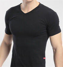 New Hot Fashion Mens Slim Fit V-neck T-shirt Short Sleeve Muscle Tee Size M L XL