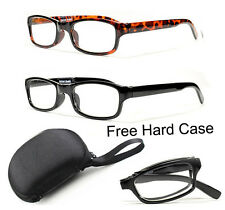 Folding Reading Glasses Plastic Readers Compact Pocket Size Hard Case Included