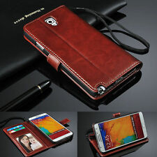 Luxury Flip Leather Wallet Card Stand Case For Moblie Phones + Screen Protector