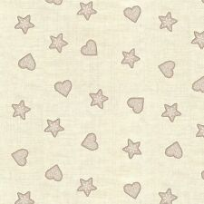 Hearts and Stars Taupe Scandi ll Christmas 100% Cotton Fabric