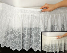 Wrap-Around Queen/King Lace Bedskirt IN HAND Dust Ruffle Bed Skirt White Ivory