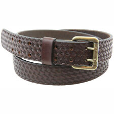 1 1/2 Harness Sunset Basket Weave Leather Belt Double Hole Made in USA