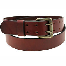 Made In USA 1 1/2 Chestnut Bridle Leather Belt With Double Hole Roller Buckle