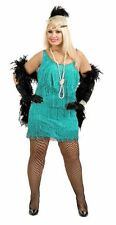 FASHION FLAPPER DRESS 20s  PLUS SIZE COSTUME AQUA ADULT LADIES GATSBY OUTFIT