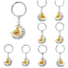 NEW I love you to the moon and back keychain Key Ring Set 10 Style Gift HOT