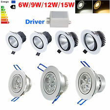 New 6W 9W 12W 15W LED Dimmable COB Ceiling Recessed Downlight + Driver Lámparas