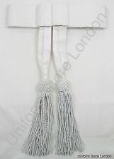 Sash  Waist Belt White with White Tassels Police Band Sash R1112