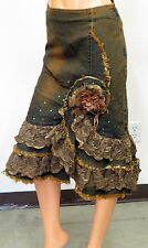 WEST 36TH DENIM BROWN JEANS FEATHER FLOWER LACE STRETCHY LONG SKIRT 9018SKU