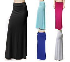 Plain Maxi Skirt Soft Banded High Waist Foldover Solid Jersey Knit Long Flowing