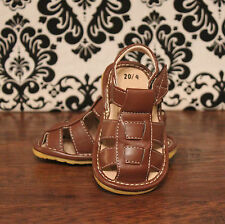 Brown Toddler Boys Velcro Squeaky Sandals Shoes, Sizes 3, 4, 5, 6, 7, 8, 9