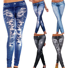 Sexy Women Denim Look Skinny Jeggings Stretchy Slim Leggings Jeans Pencil Pants