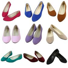 Candy Color Womens Suede Slip On Flats Loafers Pointy Toe Ballet Ballerina Shoes