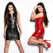 Leather Look Mini Dress Pvc Wet Look Clubbing  Party With Studs Zip Front