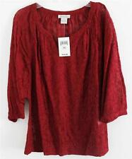 Lucky Brand Traveler Embroidered Floral 3/4 Sleeve Top 7W41104 XS S M L NWT
