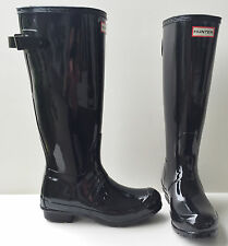 HUNTER ORIGINAL BACK ADJUSTABLE RAIN BOOTS BLACK GLOSS