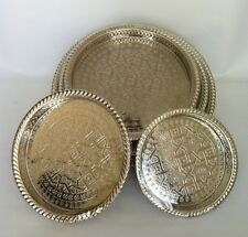 Authentic Moroccan Alpaca Silver Handcrafted Serving tray, from Fez