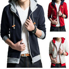 2015 Hot Mens Stylish Thin Cardigan Casual Hooded Splicing Motion Brushed Fleece