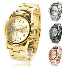 Cool Watches Stylish Womens Mens Bling Stainless Steel Quartz Wrist Watch E26