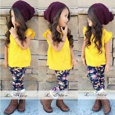 2pcs/outfits Baby Girls Yellow Top Shirt + Floral Pants Kids clothing set 2-5T