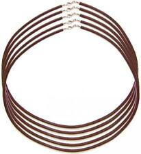 2mm / 3mm Brown Leather Cord Necklace Silver Spring Ring Clasp 16 inch - 20 inch