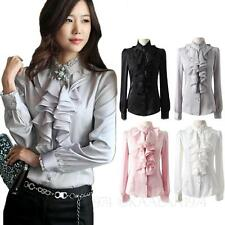 Womens ladies Vintage ruffle Blouse Party Silky Long Sleeve Shirt Satin Top Size