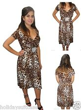 Ladies woman's Leopard print sexy summer evening party soft touch dress 8-26 UK